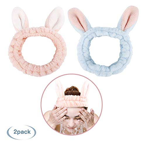 Luxspire 2 PACK Wash Headband, Cute Rabbit Ear Washing Face Hairlace, Short Plush Facial Head Wrap, Elastic Makeup Hair Bands Hair Accessories for Girls and Women - Pink & Blue