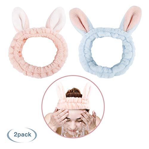 Luxspire Fascia per Capelli, [2 Pezzi] Fasce Per Capelli con Orecchi di Coniglio Fascia Carina per Capelli Maschera Facciale Trucco per Ragazze Donne