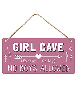 Girl Cave Sign Girls Room Decorations for Bedroom 12″x6″ PVC Plastic Decoration Hanging Sign High Precision Printing Water Proof Kids Room Signs for Door No Boys Allowed Sign Room Decor …