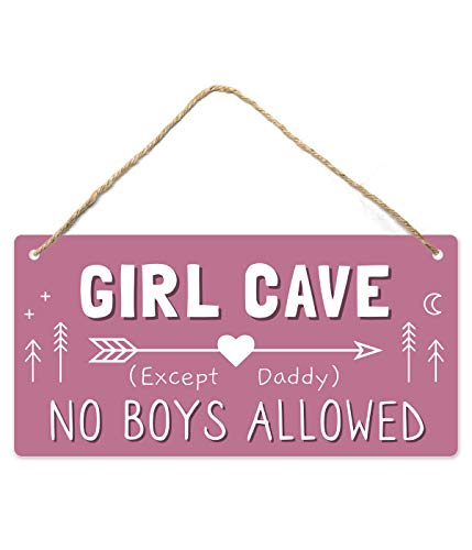 Girl Cave Sign, Girls Room Decorations for Bedroom, 12″x6″ PVC Plastic Decoration Hanging Sign, High Precision Printing, Water Proof, Kids Room Signs for Door, No Boys Allowed Sign, Room Decor …