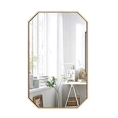 Saubere Große Wandspiegel Achteckigen Kosmetikspiegel Eisen Goldrahmen Kommode Spiegel für Eingänge Wohnzimmer Bad, Home Spiegel Decor (40x60 cm, 50x80 cm)