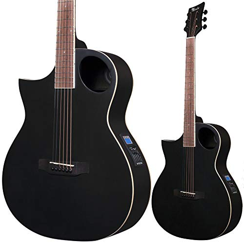 Lindo Neptune - Guitarra electroacústica para zurdos, color negro mate, con preamplificador F-4T, afinador LCD y bolsa acolchada