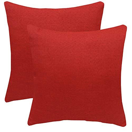 FYJS Confezione da 2 federe in morbido lino artificiale Decorazioni per la casa Fodera per cuscino quadrato per divano camera da letto 45x45cm,Vino rosso