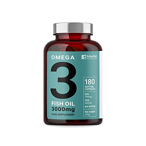 Omega 3 Fish Oil Triple Strength (3000mg) | Omega 3 Capsules with 660 EPA 440 DHA per Serving | Max Absorption Fish Oil Supplement with No Aftertaste | 180 Softgels | UK Made