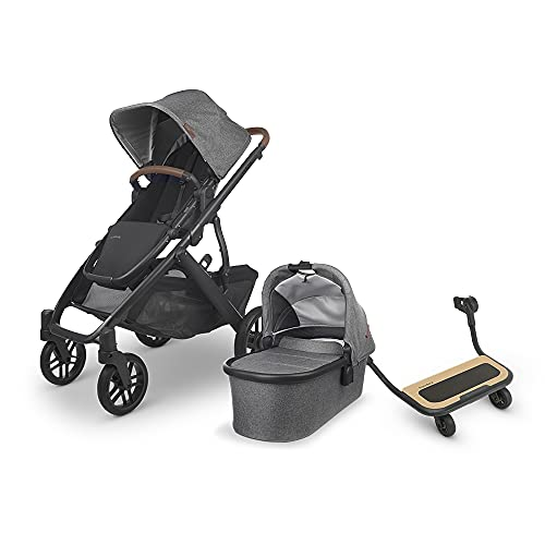 UPPAbaby Vista V2 Stroller - Greyson (Charcoal Melange/Carbon/Saddle Leather) + Piggyback for Vista & Vista V2