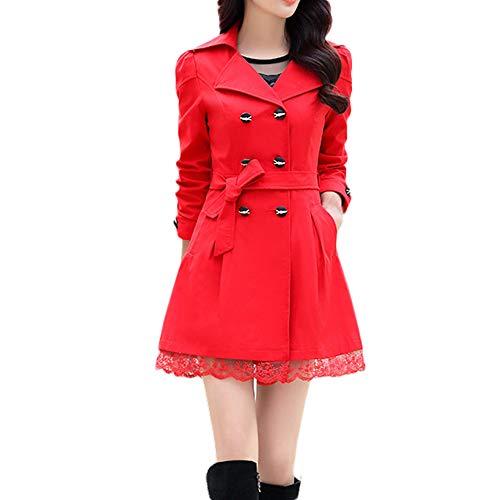 iHENGH Damen Winter Jacke Warm Bequem Parka Mantel Lässig Mode Frauen Damenmode Slim Warme Lange Ärmel Knopf Spitze Mit Gürtel(Rot,M)