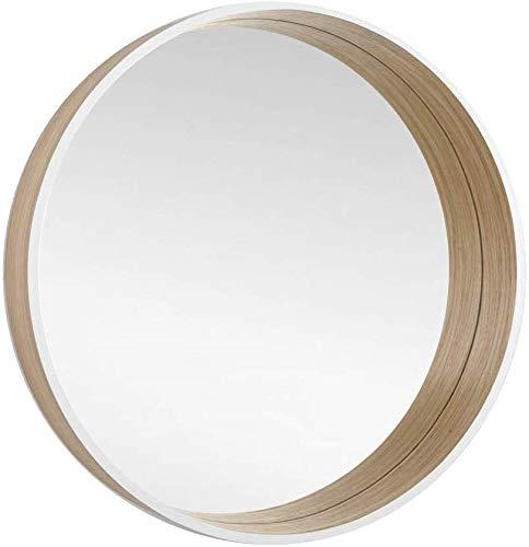 BD ART Rund Spiegel,Wanddekorativer Spiegel, Skandinavisches Design, Wandspiegel Design,Tief, 50cm Durchmesser, Holz, Eiche/Weiß