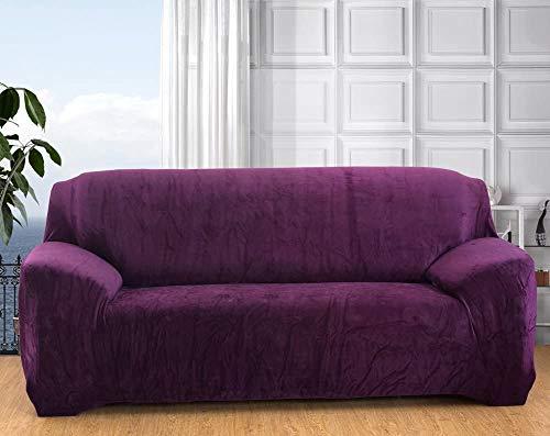 Seogva - Funda de sofá de terciopelo, 1 pieza de funda gruesa para muebles, elegante funda de sofá para sala de estar, fundas de sofá para perros, funda de sofá (sofá de 3 plazas, morado)