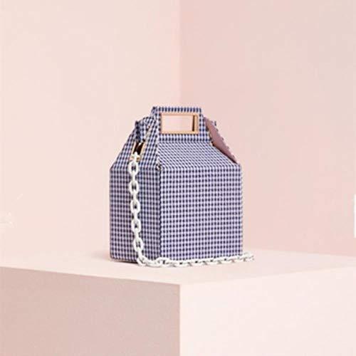SXCYU Box Bag voor dames Winter Corduroy Colour Plaid Printing Handtassen Dames Meisjes Schoudertassen Chique, blauwe plaid