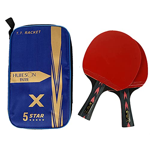 HEEYEE Raquetas de Tenis de Mesa de 5 Estrellas, Raquetas de Ping Pong, Mango Largo, manija Corta, Doble, Cara, espinillas, en, cauchos, con Bolsa,2 Horizontal Shots