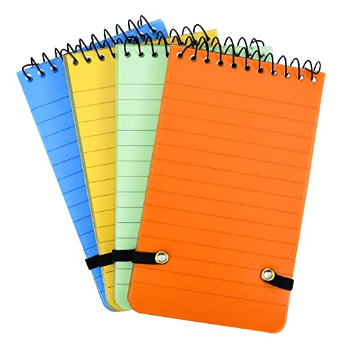4 Piezas Cuaderno Pequeño Espiral, Color Notebooks Espiral Bolsillo Blocs Notas, Libreta Pequeña con Banda elástica, Cuadernos Impermeables para Oficina, Estudiante (5.4 x 3.1 Inch)