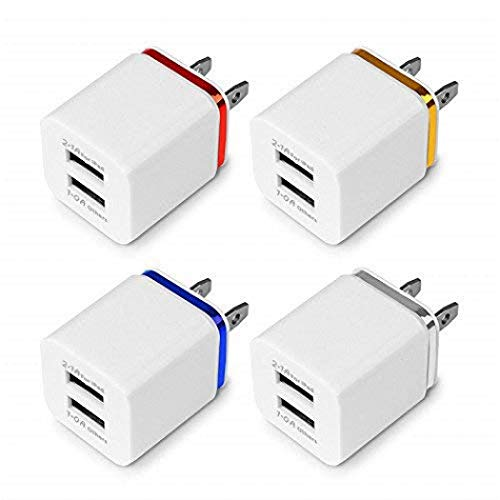 Charger Cubes, TechNoob 3-Pack Travel Adapter USB 2.1A Dual Port USB Plug Wall Charger Box for iPhone 8/X, 7 Plus, iPad, Tablet, Samsung Galaxy S9, S8 Plus, S7, S6 Edge, Sony, LG (3 Random Colors)