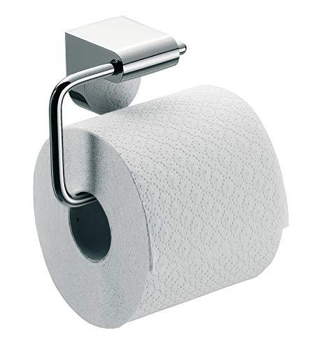 Emco Mundo Toilettenpapierhalter, chrom, Klopapierhalter, ohne Deckel, Rollenhalter, Wandmontage - 330000101