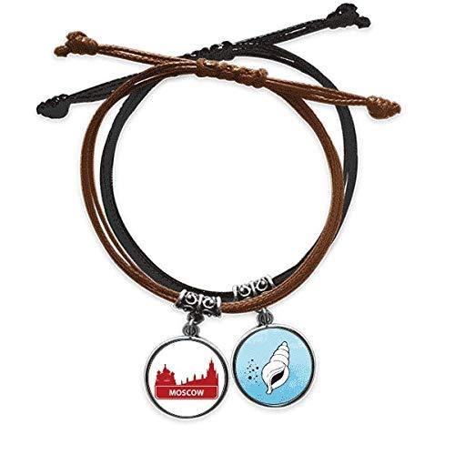 DIYthinker Moscú, Rusia roja distribución histórica pulsera cuerda mano cadena pulsera cuero cono