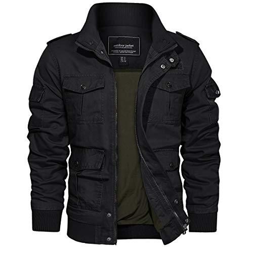 TACVASEN Men's Jackets-Military Cotton Bomber Cargo Casual Coats Outwear (Black L)