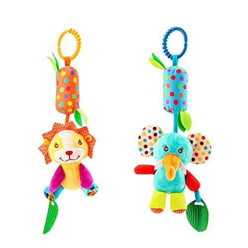 Baby Hanging Rattle Toys - Newborn Stroller Toys - Infant Crib Car Seat Toys - 0 3 6 9 12 Months Baby Rattles - Infant Gift for Baby Boys and Girls - Colorful Animal 2 Pack