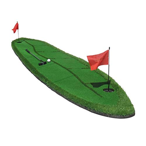 LY88 Oefening Golf Putting Mat Willow Leaf Ontwerp Draagbare Praktijk/Training Mat Putting Green Golf Hitting Matten Binnen/Outdoor Golf Mat met Simulation Obstacles - 300×70cm Sport buitenshuis
