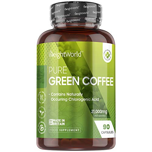 Café Vert Pur Extra Fort - 21000 mg - 90 Gélules - Energie, Anti Fatigue | Complément Alimentaire de Caféine Verte Keto - Vitamine B, Magnésium, Potassium, Manganèse et Niacine | Green Coffee Vegan