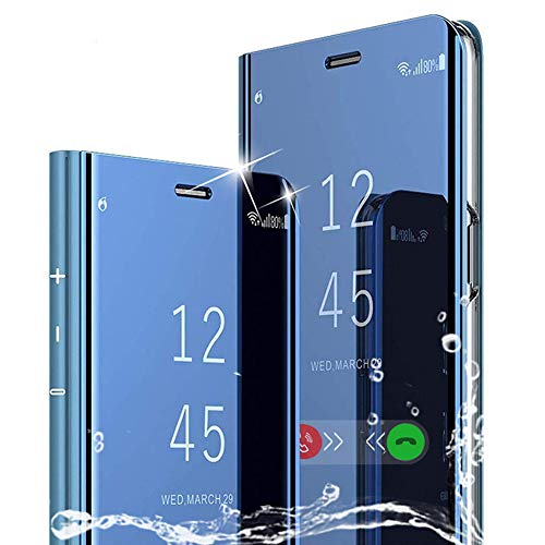 BOWFU per Huawei P Smart Z Cover,Specchio Custodia per Huawei P Smart Z, Mirror Shell Clear View Standing Flip Case Cover per Huawei P Smart Z-Blu