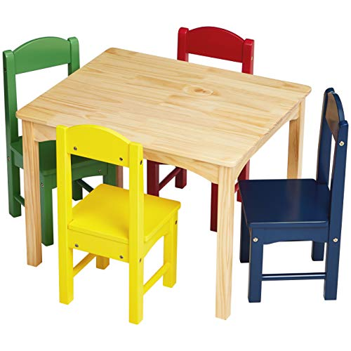 AmazonBasics Kids Wood Table and 4 Chair Set, Natural Table, Assorted Color Chairs