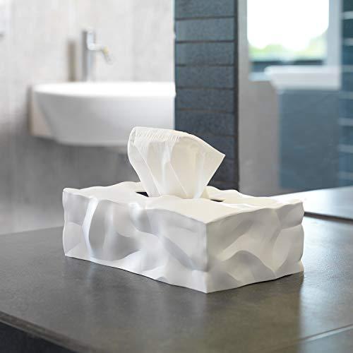 Essey Kosmetiktücher-Box Wipy Cube II, rechteckiger Taschentuchspender, Design Taschentuchbox, weiß