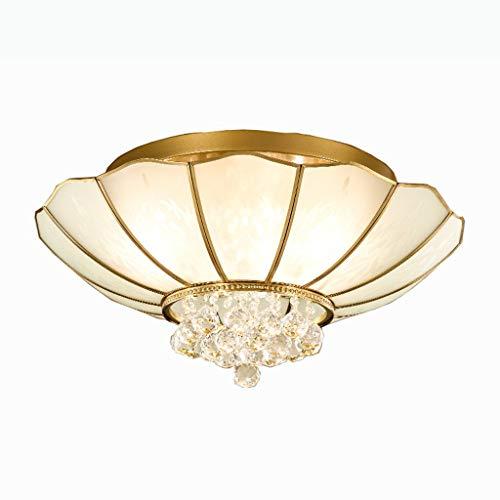 YANQING Duurzame Plafondlampen Koperen Plafondlamp, Plafondlamp voor Slaapkamer Studeerkamer Woonkamer, Glazen Lamp Cover Creatieve Kristallen Plafondverlichting Plafondlampen