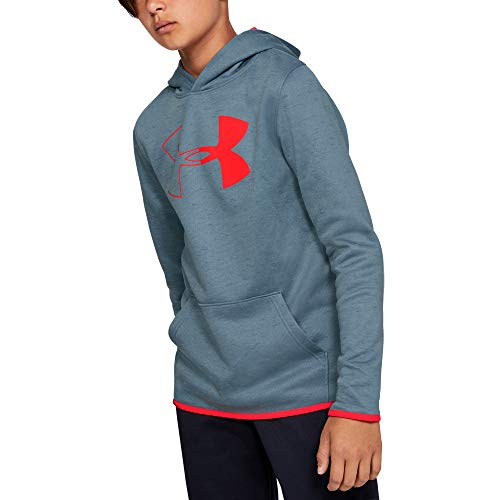 Under Armour Boys' Armour Fleece Hoody, Ash Gray//Beta Red, Youth Small