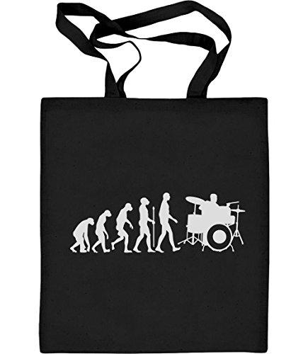 Green Turtle T-Shirts Schlagzeuger Evolution - Geschenke für Drummer Jutebeutel Baumwolltasche One Size Schwarz