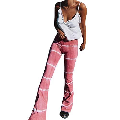 Pantalones Sueltos para Mujer Tie Dye Pantalones Anchos Sueltos Ocasionales Acampanados Largos Pantalones Deportivos (Rojo, S)