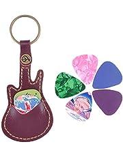 سلسلة مفاتيح من الجلد لحمل الجيتار، اختيارات لأدوات هدايا وآلات للموسيقيين (أحمر داكن)