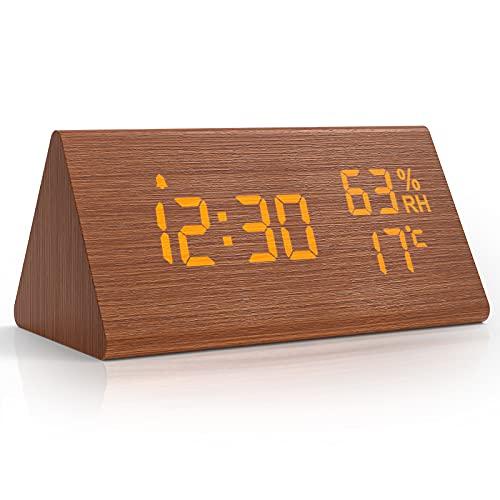NBPOWER Wecker Digital LED Digitale Uhr Holz,Digitalwecker Tischuhr mit Sprachsteuerung/Snooze/Datum/Temperatur und Luftfeuchtigkeit, für Nachttisch, Schlafzimmer, Nacht Kinder und Büro- Braun