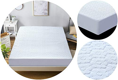 Voice 7 Flowery Deep Fitted (30 cm) Waterproof Mattress Protector - Terry Cotton Cover Fully Elasticated Fitted Sheet Style, Anti Dust Mite, Anti Allergy & Non Noisy (Double 140 x 200 + 30 cm)