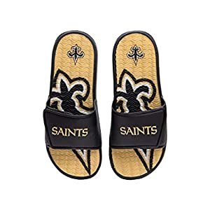 FOCO NFL New Orleans Saints Mens Sport Shower Gel Slide Flip Flop SandalsSport Shower Gel Slide Flip Flop Sandals, Wordmark, Large (11-12) (FFSSNFCBBLGGEL)