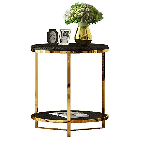 Coffee Table Living Room Round 2 Layer Sofa Side Table Stainless Steel Corner Table Storage Shelf 50 * 52CM