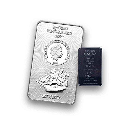 5g Silberbarren Münzbarren COOK ISLAND - prägefrisch mit Zertifikat (5g)
