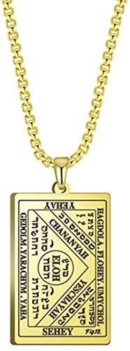NC188 Amulet Brings Great Fortune By Water Necklace For Men The Third Table Of The Spirits Of Water (Book Of The Moses) Gold 60cm