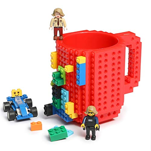 Build-on Brick Coffee Mug, Funny DIY Novelty Cup with Building Blocks Creative Gift for Kids Men Women Xmas Birthday (Red)