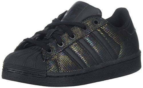 adidas Originals Boys' Superstar Black Iridescent C Running Shoe, 2 M US Little Kid