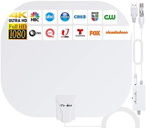 2021 Nuova Amplificatore Antenna TV Interna Potente,Antenna TV 280KM Gamma per DTT DVB-T/DVB-T 2, Digitale Antenna Supporto 4K HD VHF UHF FM,Antenna TV Canali Gratuiti 1080P 4K- Cavo Coassiale 5M