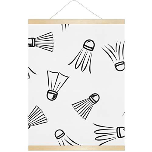 Decoración de pared Raqueta de bádminton y raqueta de tenis Decoración de pared para sala de estar sin marco de madera magnética Impresiones para decoración de pared para comedor Decoración de estar