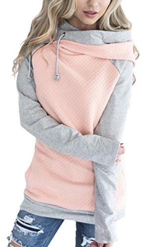 ECOWISH Damen Kontrastfarbe Pulli Pullover Rollkragen Sweatshirt Kapuzenpulli Top Hoodies Rosa L