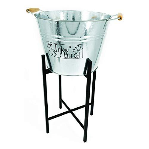 PrimoLiving Zinkeimer Sektkühler mit Metallständer (Enjoy Life) 14 Liter