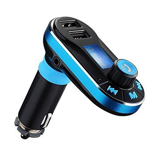 bt66 Bluetooth Car Kit mains libres Bluetooth Lecteur MP3 Transmetteur FM 2 Chargeur voiture USB pour iPhone se 6S 6S Plus de iPhone 6 6 Plus, Samsung Galaxy S6 S6 edage S7 S7 edage, iPad, etc. (Bleu)