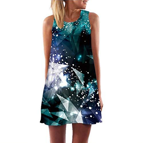 MOMOXI Vestidos para Mujer Vestido Suelto sin Mangas con Estampado 3D de Bohe Estampado 3D de Vintage Vintage Loose Summer Vestido de Fiesta Vestido Ajustado Vestido de Noche Vestido de cóctel