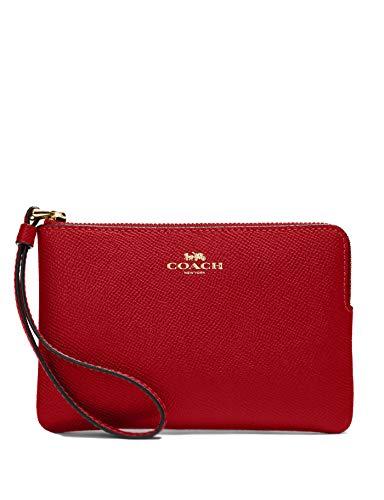 Coach Crossgrain Leather Corner Zip Wristlet Wallet (1941 Red)