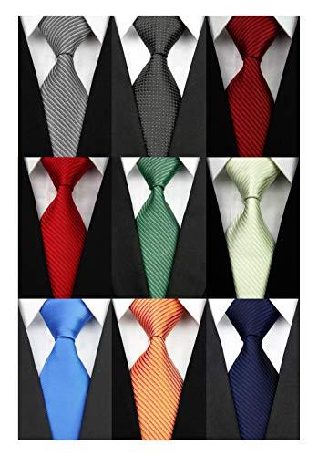 Wehug Lot 9 PCS Classic Men's tie 100% Silk Tie Woven Jacquard Neckties Solid Ties for men style001