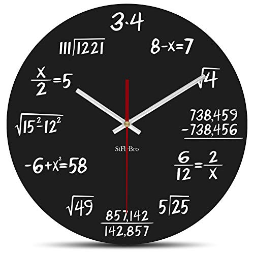 StFlyBro Silent Sweep Math Wall Clock Include 2 Pack Clock Hands, Solutions of Equations are Equal to Time