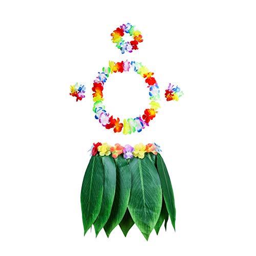 Pangmao Hawaiian Leaf Skirt with Flower Party Fancy Dress for Hawaii Summer Beach Tropical Luau Party