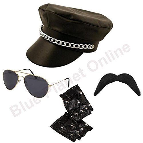 Blue Planet Online - Leather Look Biker Hat, Sunglasses, Gloves & Moustache YMCA Gay Pride Fancy Dress by Blue Planet Online