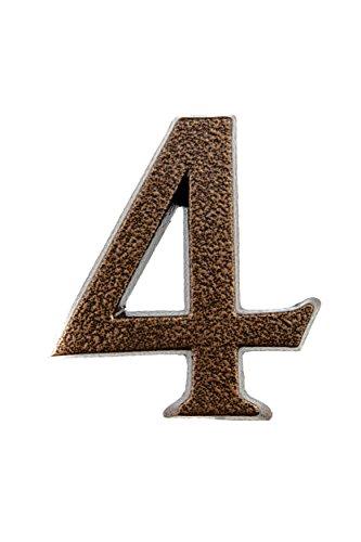 HUBER número de casa 4 de aluminio 10 cm I números de casa para puerta - placas de número de casa en noble diseño de cobre antiguo 3D, con recubrimiento de polvo